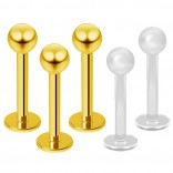 3pc 16g Gold Stainless Steel Lip Rings 3mm Ball Labret Nose Studs Monroe Tragus 8mm + 2pc Retainer