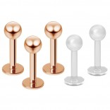 3pc 16g Rose Gold Stainless Steel Lip Rings 3mm Ball Labret Studs Monroe Tragus 6mm + 2pc Retainer