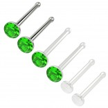 6pc 18g 1mm Nose Stud Bone Straight Bar Nostril Ring Surgical Steel 2.5mm Crystal and 20g Peridot Bioflex Stud 0.8mm Retainer