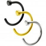 3pc 20g Nose Hoop 8mm Nasal Twist Stainless Steel Black Gold Nostril Rings Hypoallergenic Flat Cute