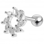 16g 1/4 Tragus Stud Cartilage Earring Barbell Stud Forward Helix Pear CZ Surgical Steel Piercing Jewelry