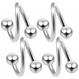 4pc 16g Twisted Barbell Spiral Twist Nose Ring Surgical Stainless Steel Twister Piercing 3/8 10mm