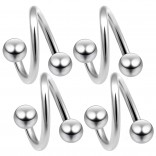 4pc 16g Twisted Barbell Spiral Twist Nose Ring Surgical Stainless Steel Twister Piercing 1/2 12mm