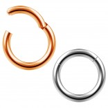 2pc 14g Clicker Nose Rings Hoop Septum Ring Ceptum Clickers Conch Piercing Jewelry Black & Rose 8mm
