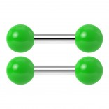 2pc 14g Barbell Cartilage Earring Stud Vertical Anti Tragus Triple Forward Helix Bar 316L Surgical Steel Lobe 4mm Ball Green - 6mm