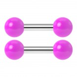 2pc 14g Barbell Cartilage Earring Stud Vertical Anti Tragus Triple Forward Helix Bar 316L Surgical Steel Lobe 4mm Ball Purple - 6mm