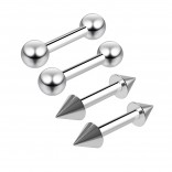 4pc 16g 1/4 6mm Surgical Stainless Steel Barbell Cartilage Earrings Bar Ball & Cone Piercing Jewelry