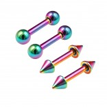4pc 16g 1/4 6mm Rainbow Anodized Steel Barbell Cartilage Earrings Bar Ball & Cone Piercing Jewelry