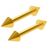 2pc 16g Gold Barbell Cartilage Earrings Anti-Tragus Spike Forward Helix Eyebrow Piercing Jewelry 8mm