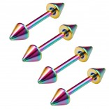 4pc 16g 3/8 10mm Rainbow Surgical Steel Eyebrow Lip Bars Ear Tragus Rings Straight Barbell Piercing