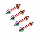 4pc 16g 1/4 6mm Rainbow Surgical Steel Eyebrow Lip Bars Ear Tragus Rings Straight Barbell Piercing