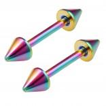 2pc 16g Rainbow Barbell Cartilage Earring Anti-Tragus Forward Helix Eyebrow Piercing Spikes 10mm 3/8