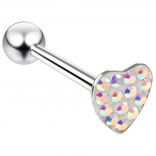 14g Heart Shaped Tongue Stud Flat Head Glittery Ball Sparkling Crystal Piercing Aurora Borealis AB