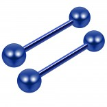 14g Blue 16mm Surgical Steel Tongue Bars Ear Tounge Nipple Barbell Rings Piercing Jewelry 6mm Ball