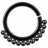 16g Black Stainless Steel Septum Ring For Women Men Gothic Nickel-Free Tribal Nose Piercing Jewelry
