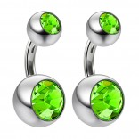 2pc 14g Crystal Double Gem CZ Peridot Belly Button Ring Surgical Steel Shallow Navel 6mm