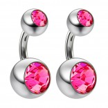 2pc 14g Crystal Rose Pink Gem Double Belly Button Ring Navel Short 6mm Shallow Piercings