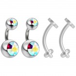 2pc Surgical Steel 14g Belly Navel Ring Shallow 1/4 6mm Piercing Jewelry 8mm and 5mm Aurora Borealis Crystal Ball & 2pc Bioflex 14g Retainer