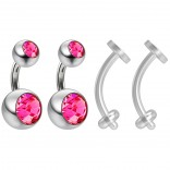 2pc Surgical Steel 14g Belly Navel Ring Shallow 1/4 6mm Piercing Jewelry 8mm and 5mm Rose Crystal Ball & 2pc Bioflex 14g Retainer