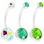 3pc 14g Peridot CZ Crystal Flexible BioFlex Belly Button Ring Piercing Navel Bar Bendable Bioplast 19mm Aurora Borealis Emerald Peridot