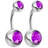 2pc 14g Crystal Belly Button Ring CZ Amethyst Gem Jeweled 8mm Sexy For Women Navel Rings
