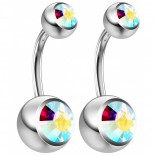 2pc 14g Crystal Belly Button Ring AB Aurora Borealis Jeweled 8mm Sexy For Women Navel Bar