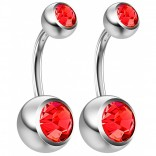 2pc 14g Crystal Belly Button Ring CZ Light Siam Gem Jeweled 8mm Sexy For Women Navel Rings