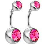 2pc 14g Crystal Belly Button Ring CZ Rose Pink Gem Jeweled 8mm Sexy For Women Navel Rings
