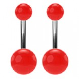 2pc 14g Stainless Steel Belly Stud Button Navel Bar Rings 14 Gauge 3/8 10mm Acrylic Ball Earrings Piercing Jewelry - Red
