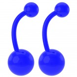 2pc 14g Acrylic Belly Ring Blue Color 10mm Bar Plastic Navel Rings 8mm & 5mm Balls Button Piercing Jewelry