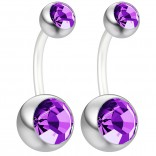 2pc 14g Belly Button Ring Amethyst CZ Crystal Gem Clear Flexible Bioflex Bar Navel Piercing 10mm 3/8