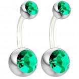 2pc 14g Belly Button Ring CZ Emerald Crystal Gem Clear Flexible Bioflex Bar Navel Piercing 10mm 3/8