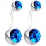 2pc 14g Belly Button Ring Sapphire CZ Crystal Gem Clear Flexible Bioflex Bar Navel Piercing 10mm 3/8
