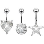 3pc Cubic Zirconia Belly Button Rings Star Heart Navel Surgical Stainless Steel Piercing Jewelry 3/8