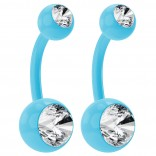 2pc 14g Blue Belly Button Rings 10mm 3/8 Flexible Acrylic Colorful Plastic Crystal Gem Navel Ring
