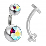 14g Crystal Aurora Borealis AB Belly Button Ring Navel Rings 6mm 1/4 & Piercing Retainer