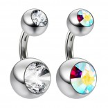 2pc 14g Crystal Double Gem Aurora Borealis Belly Ring Surgical Steel Shallow Navel 6mm