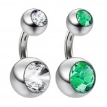 2pc 14g Crystal Double Gem CZ Emerald Belly Button Ring Surgical Steel Shallow Navel 1/4