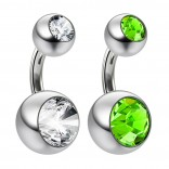 2pc Crystal Double Gem Birthstone Belly Button Ring Surgical Steel Shallow Navel 1/4 6mm