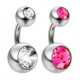 2pc 14g Crystal Double Gem Rose Pink Belly Button Ring Surgical Steel Shallow Navel 1/4