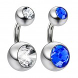 2pc 14g Crystal Double CZ Sapphire Belly Button Ring 316L Surgical Steel Shallow Navel 6mm