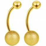 2pc 14g Gold Frost Belly Button Rings Frosted Ball Navel Bar Surgical Stainless Steel Frosty 1/2