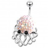 Cute Belly Button Ring Dangle Unique 14g 10mm 3/8 316LVM Surgical Steel Sexy Dangle Unusual Octopus Navel Piercing  - Aurora Borealis