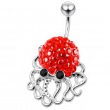 Cute Belly Button Ring Dangle Unique 14g 10mm 3/8 316LVM Surgical Steel Sexy Dangle Unusual Octopus Navel Piercing  - Light Siam