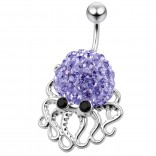 Cute Belly Button Ring Dangle Unique 14g 10mm 3/8 316LVM Surgical Steel Sexy Dangle Unusual Octopus Navel Piercing  - Tanzanite