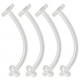4pc 16g Belly Button Retainer Ring Flexible BioFlex Plastic Navel Piercing 14 Gauge Bioplast 12mm
