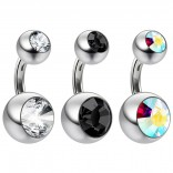 3pc 14g Crystal Double CZ Jet Gem Belly Button Ring 316L Surgical Steel Shallow Navel 6mm