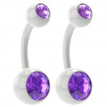 2pc 14g Amethyst Belly Button Rings 10mm 3/8 Flexible Acrylic Clear Plastic Crystal Gem Navel Ring