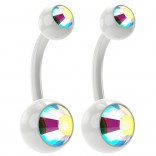 2pc 14g Aurora Borealis Belly Button Rings AB 10mm 3/8 Flexible Acrylic Clear Crystal Navel Ring