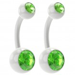 2pc 14g Peridot Belly Button Rings 10mm 3/8 Flexible Acrylic Clear Plastic Crystal Gem Navel Ring